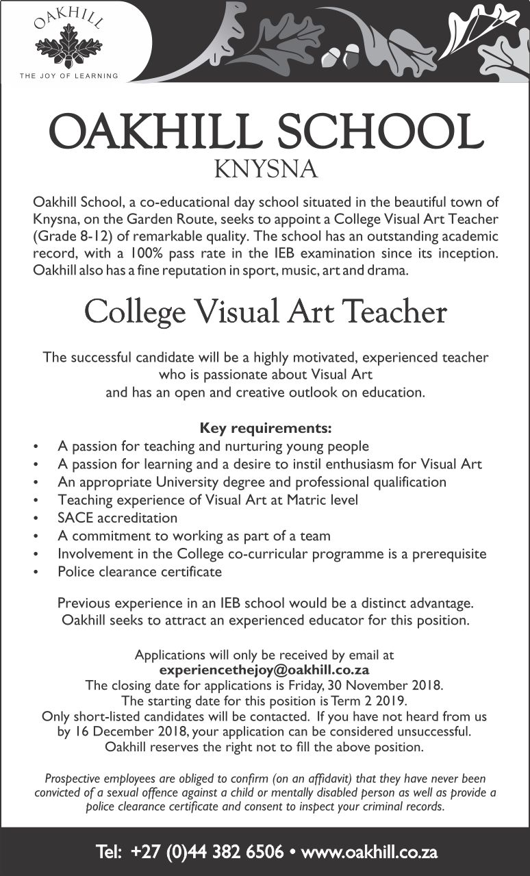 Vacancy - College Visual Art Teacher