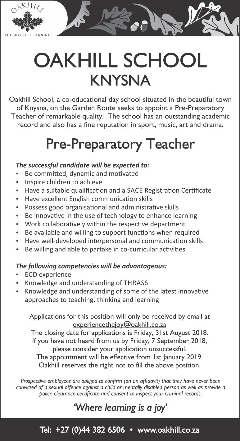 Vacancy - Pre-Peparatory Teacher 2019