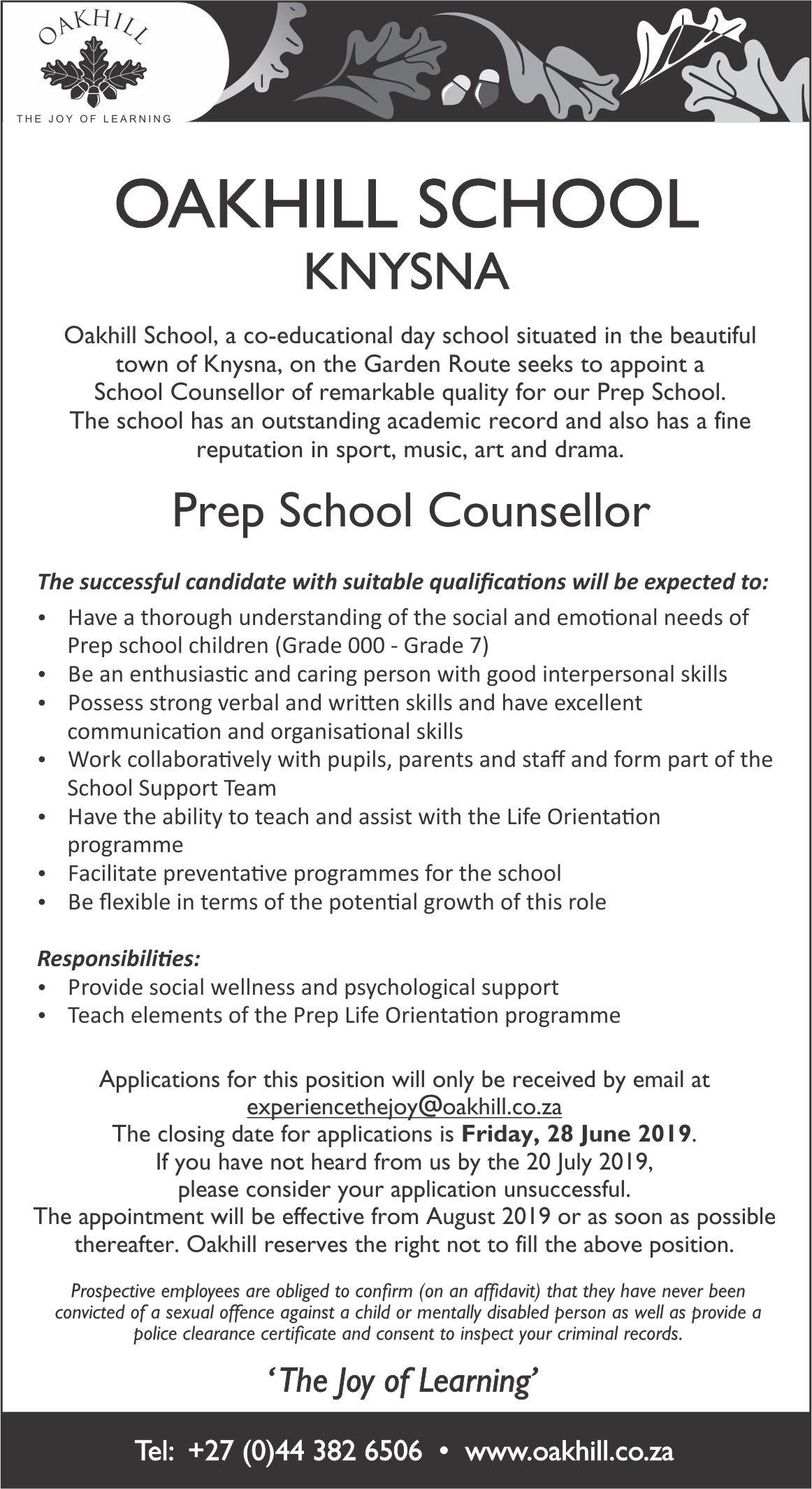 Vacancy - School Counsellor Prep School 2019