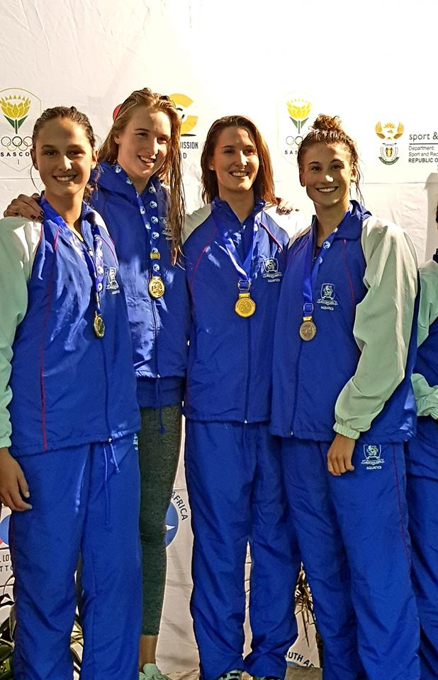 Gold in the 4 x 100m freestyle relay at Senior Nationals